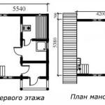 проект сруба бани 5 на 5 с мансардой