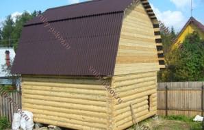 Сруб бани 3 на 6 с ломанной крышей