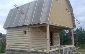 Сруб бани 3 на 6 с верандой и ломанной крышей