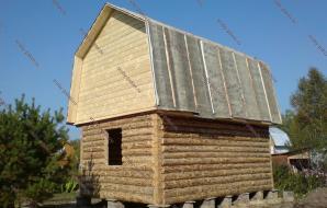 Сруб бани 4 на 6 с ломанной крышей