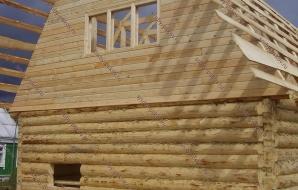 Сруб бани 6 на 6 с ломанной крышей