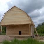 Сруб бани 6 на 6 с верандой и ломанной крышей