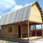 Сруб бани 4 на 4 с верандой и ломанной крышей