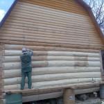 Сруб бани 5 на 6 с ломанной крышей