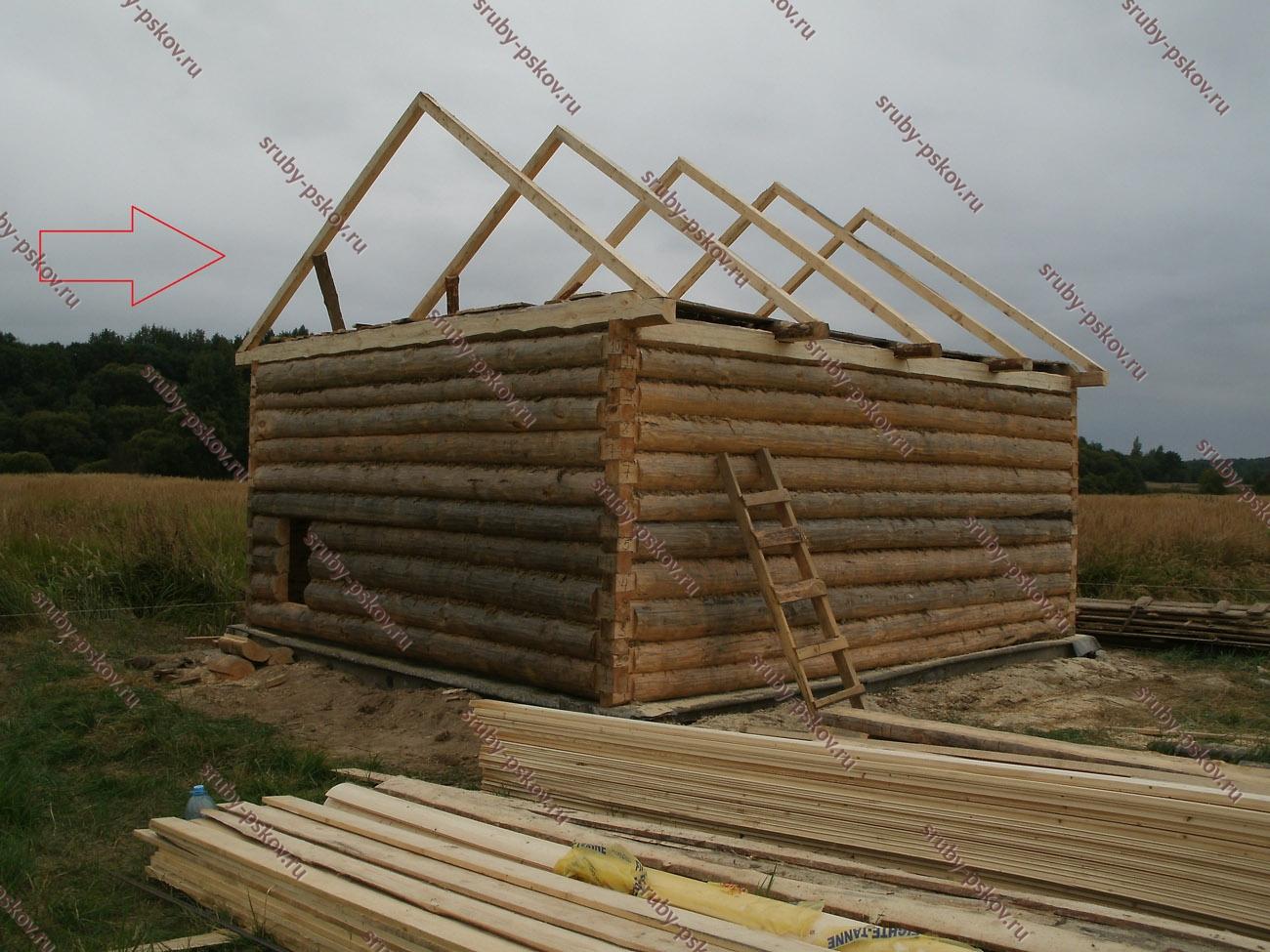 крыша на сруб бани