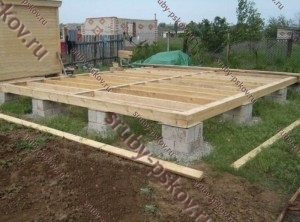 столбчатый фундамент для бани 3х5 с лагами