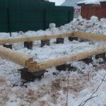Установка бани 3 на 5 метров на столбчатый фундамент